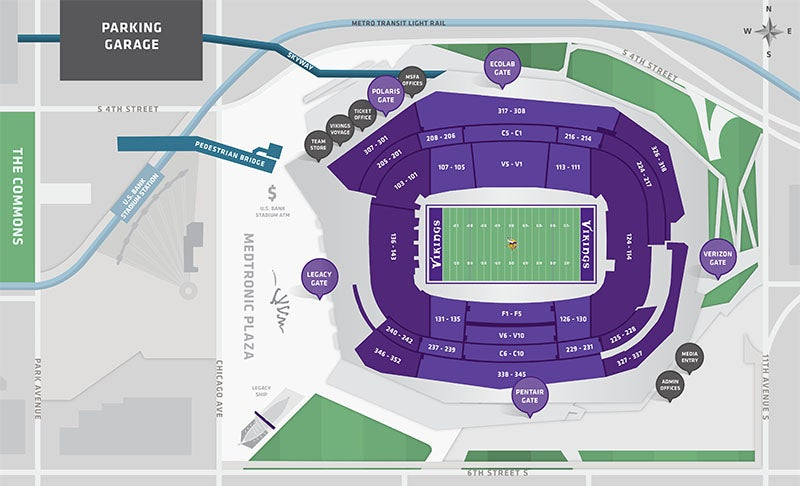 Stadium Maps | U.S. Bank Stadium