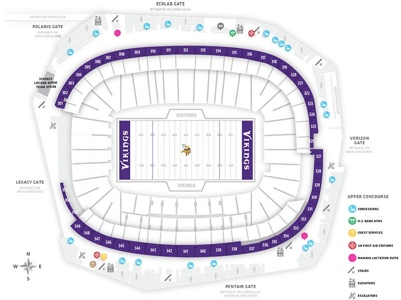 Stadium Maps US Bank Stadium - Us bank stadium concourse map
